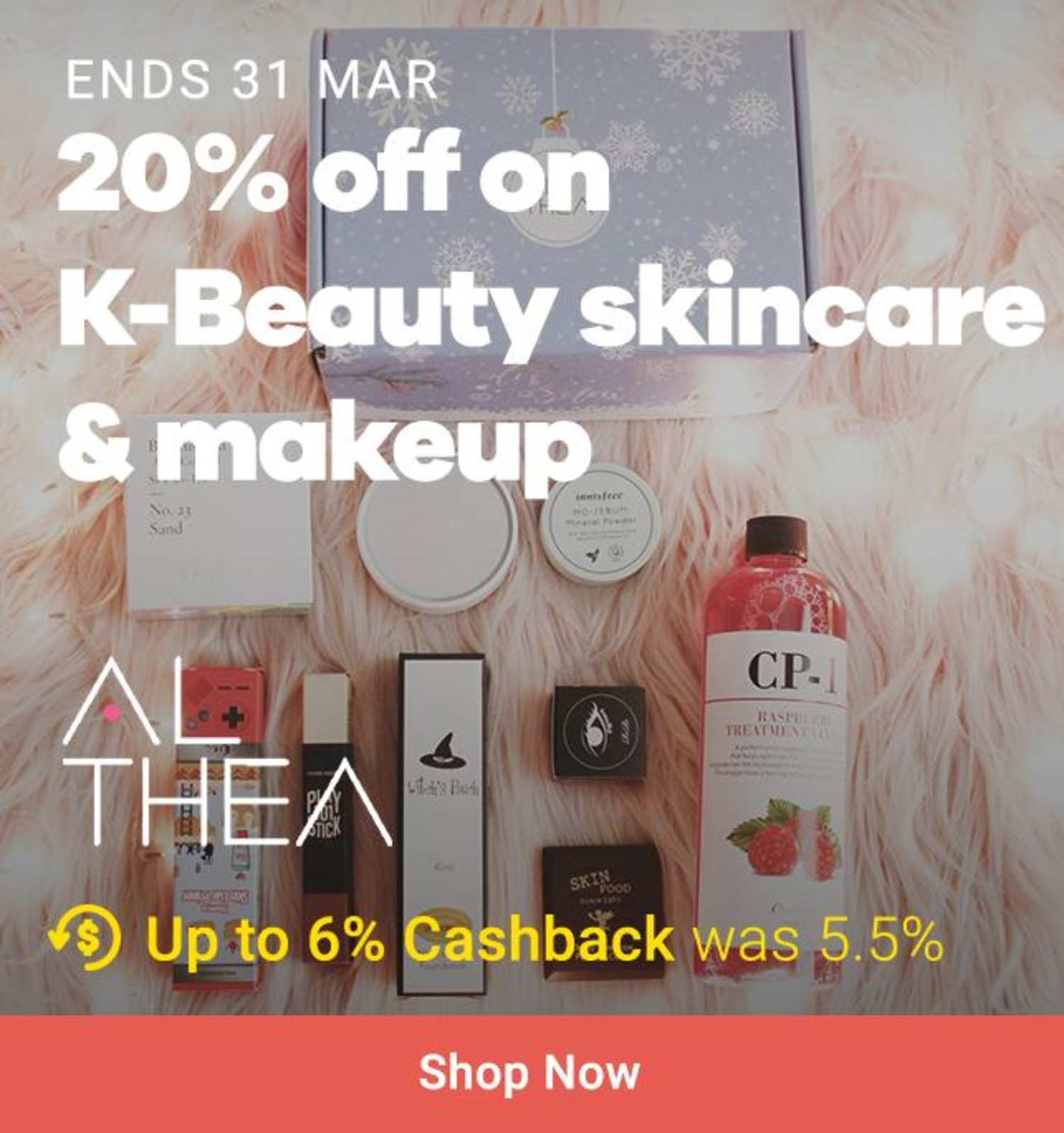Althea: 20% off on K-beauty skincare makeup
