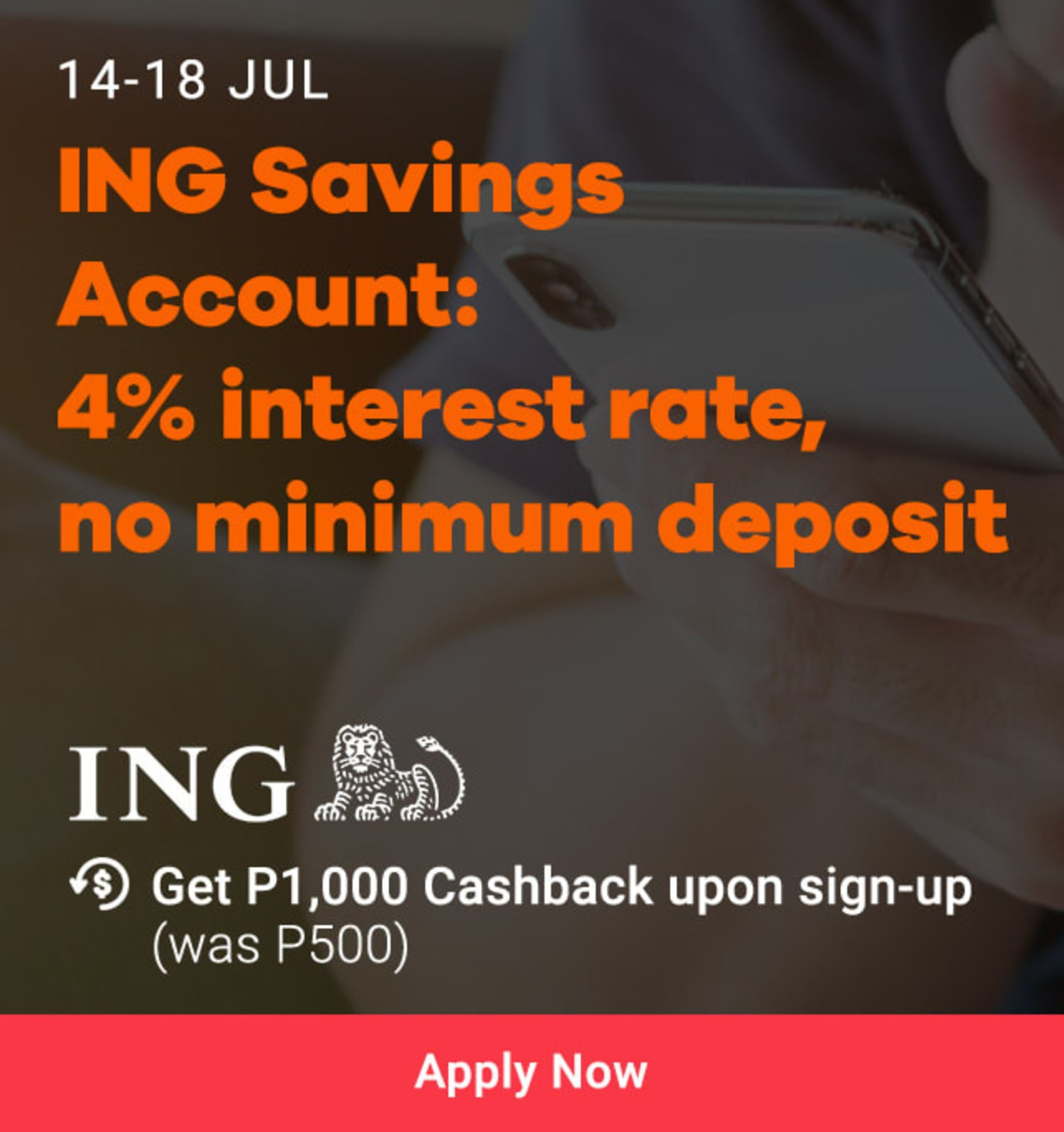 ING: 4% Interest Rate No Minimum Deposit