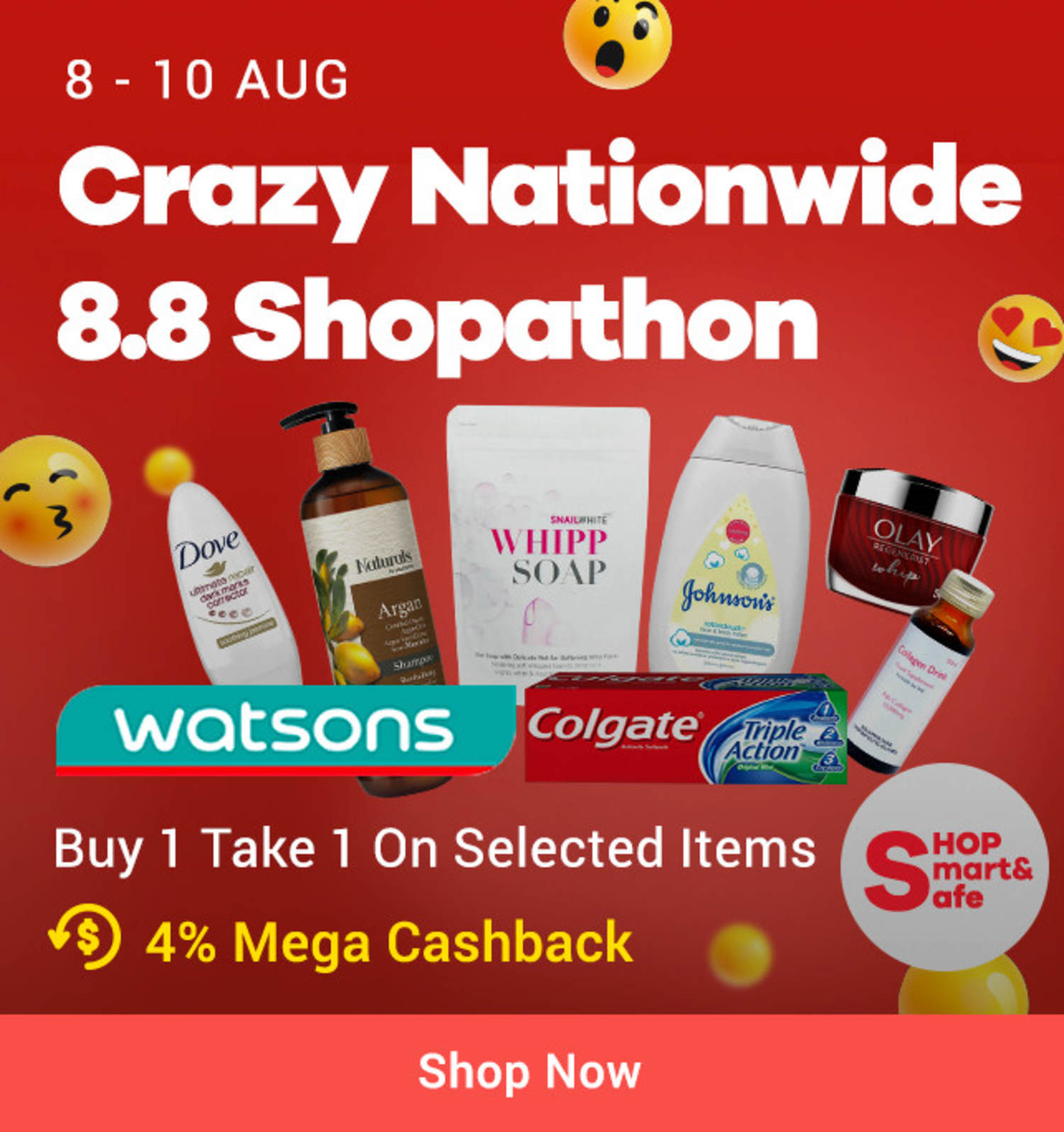 Watsons: 8.8 Crazy Nationwide Shopathon Up to 50% off