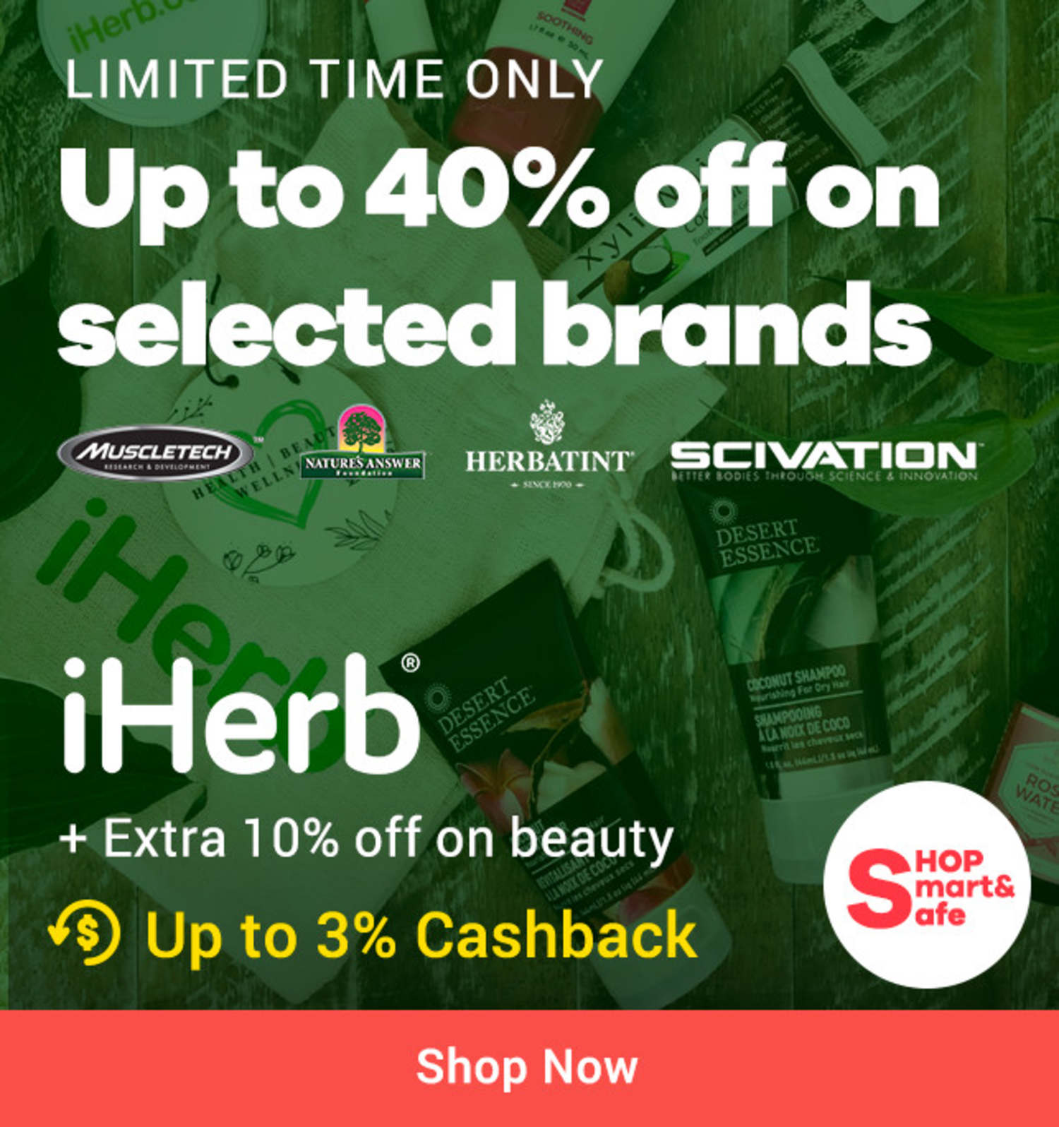 iHerb: Up to 40% off on selected brands