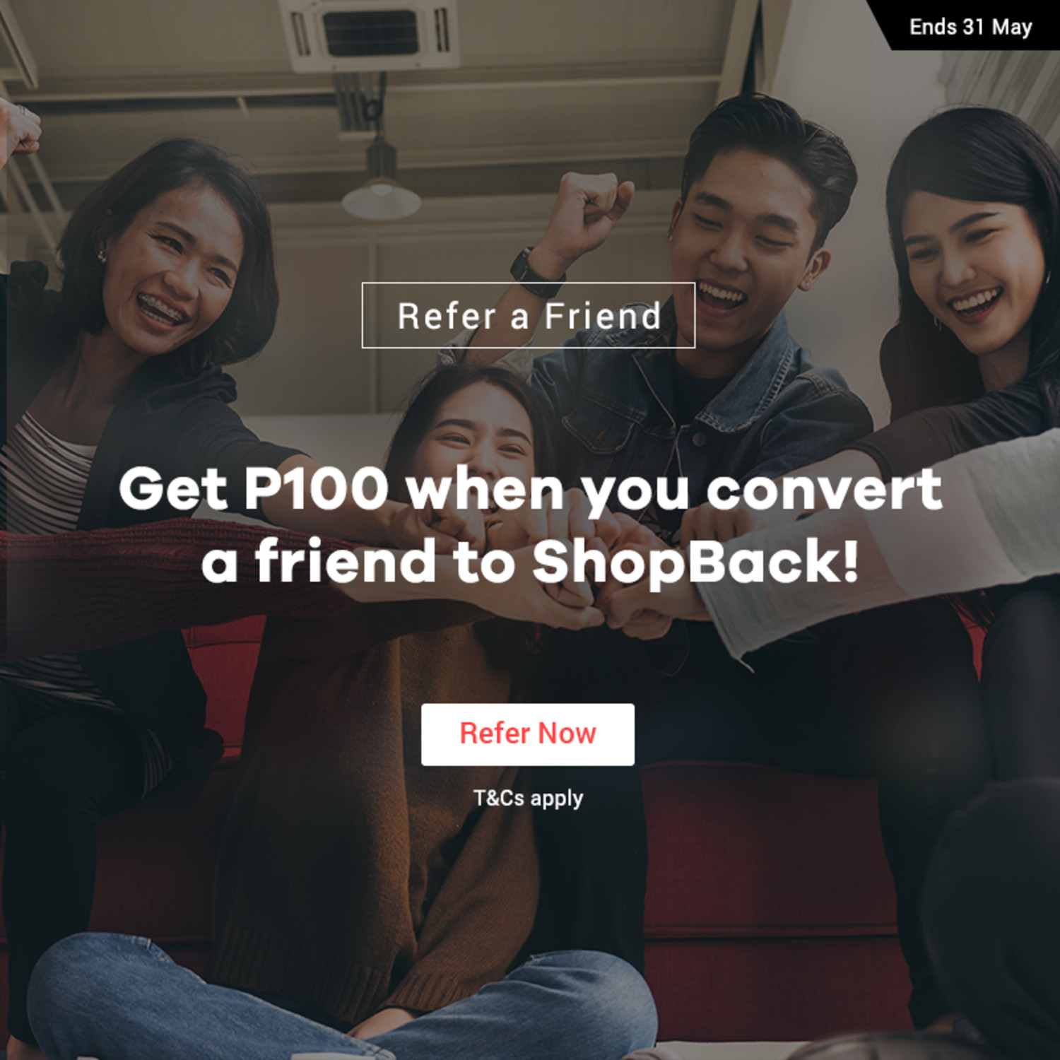 Get P100 Cashback bonus whenever you refer a friend to ShopBack