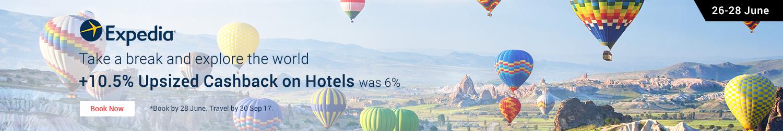 Expedia 10.5% Upsized Cashback on Hotels (was 6%)