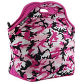 GOPRENE Lunch Transporter Neoprene Tote with Heavy-Duty Zipper, Fits Large Lunches, PINK CAMO, [13 x 12.5 x 6.5 inches]