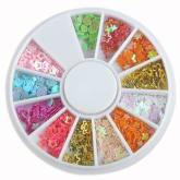 Oem Mixed Glitter Heart Flower Star Nail Art Tips UV Acrylic Decoration Slice Wheel