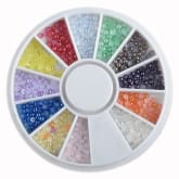 Oem Mixed Glitter Round Beads Pearl Nail Art Tips UV Acrylic Decoration Slice Wheel