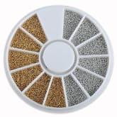 Oem Silvery Golden Nail Art Caviar Beads Manicure Pedicure Make Up Decoration Wheel