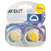 Philips Avent Twin Pack Yellow Night Time BPA-Free Soother (0-6 Months)