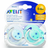 Philips Avent Glow In The Dark Night Time Soother 0-6m Blue