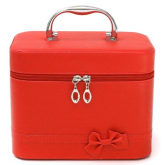 Oem Travel Leather Makeup Train Case Jewelry Box Cosmetic Organizer Storage Handbag Red