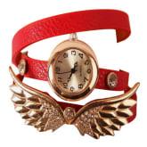 Joylivecy Vintage Women PU Leather Strap Watches Angel Wings Bracelet Women Dress Watch Wristwatch Girl Wristwatches red (Intl)