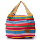 Oem Women Kids Canvas Stripe Lunch Bags Portable Insulated Bolsa Bag Red