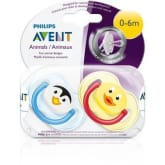 Philips Avent Twin Pack Penguin and Duck Animal BPA-Free Soother (0-6 Months)