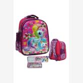 Onlan My Little Pony LAMPU 5D Timbul Hologram Tas Ransel TK ada 2 Kantung Depan Import dan Kotak Pensil Set alat Tulis - Pink
