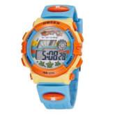 Ohsen OHSEN Digital Boys Blue Silicone Strap Sports Alarm Watch (Intl)