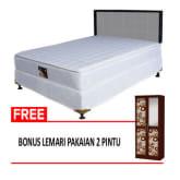 F/center F/Center FCENTER Spring Bed Set Clama Pillow Top S/Kenzo Ukuran 180x200 BONUS Lemari Pakaian 2 Pintu - Khusus Jabodetabek