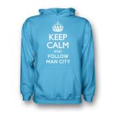 Gildan Keep Calm And Follow Man City Hoody (Sky Blue) - Kids