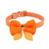 Mtara MTara Pet Dog Cat Bowknot Adjustable Collars Orange