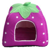 Small Soft Strawberry Pet Dog Cat Rabbit Cute Bed House Kennel Doggy Warm Cushion Pads Size S (Purple)