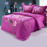 Purple Bedding Sets 4Pcs 100% Cotton Bed Linen 3D Comforter Sets Including Duvet Cover Bed Sheet Pillow cases