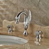 Chrome Widespread 3pcs Batyhtub Faucet High Arc Spout Deck Mounted Mixer Tap