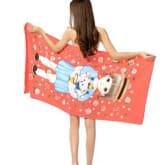 70*150cm Cartoon girl Orange Beach towels Reactive printing Bath towel