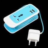 OH 3 in 1 USB Port Travel Home Socket US/EU/UK Plug Wall Charger 5V 2.1A Phones Blue