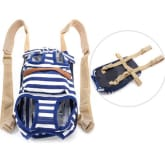 L Dog Front Carrier Nylon Bag Backpack Pet Puppy Cat Tote Head Out Blue Stripes