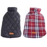 RIS Pet Dog Waterproof Reversible Plaid Jacket Coat Winter Warm Clothes Red L