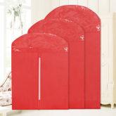 3pcs/set Home Dress Clothes Dustproof Protector Bags (red)