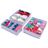 Socks Shorts Bra Underwear Storage Boxes Bins 3PCS (Purple)