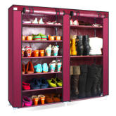 7 Tiers 13mm Steel Pipe Shoe Cabinet With Non Woven Fabric Large Capacity Shoe Storage For Living Room (Maroon)