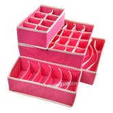 louiwill Drawer Dividers Closet Organizers Bra Underwear Storage Boxes (Hot Pink,Set of 4) (Intl)