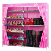 7 Tiers 13mm Steel Pipe Shoe Rack With Oxford Fabric Large Capacity Shoe Storage For Hallway (Pink)