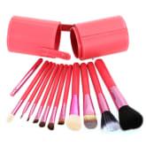 12Pcs Pro Soften Makeup Tools Brush Set Kit with Brush Pot Protector Travel(Export)(Intl)