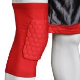 Cross-line Crashproof Antislip Basketball Leg Knee Short Sleeve Gear Honeycomb Pad Red M (EXPORT)