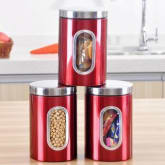Oem Stainless Steel Window Canister Tea Coffee Sugar Nuts Jar Storage 3pcs (Red)