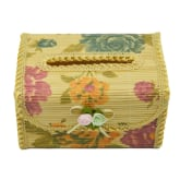 Practical Bamboo Weaving Tissue Paper Box Cover Case Holder S Size (Yellow)(Export) - Intl