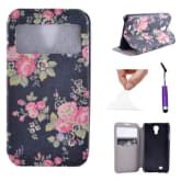 Moonmini For Samsung Galaxy S4 i9500 Case Flower S Window PU Leather Stand Flip Case Cover - style 2