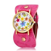 Jiangyuyan JIANGYUYAN louiwill 2015 New Leather Strap Quartz watch Women Dress Watch Flower Design Fashion Casual Wristwatch (Rose Red)