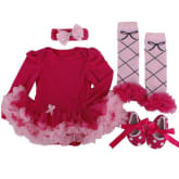 Baby girl red color jumpers rompers pure cotton climbing skirt long sleeve four pieces set