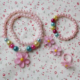Flowers Jewelry Accessories Baby Necklace Bracelet Ear Clip Ring(Pink) (Intl)