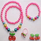 Children'S Jewelry Cherry Necklace Bracelet Ear Clip Ring (Intl)