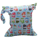 S & F Baby Infant Waterproof Zipper Reusable Cloth Diaper Bag w/ Colorful Owl Pattern Light Blue