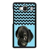 Oem French Bulldog Chevron Pattern Phone Case for XiaoMi RedMi 2 Black/Blue (EXPORT)