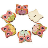 100PCS Cute Kid Wood Handmade Word Mixed Color Craft Decoration Button 23# (Intl)