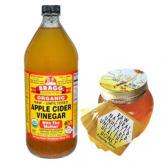 Bragg Apple Cider Vinegar 946ml Bundle with Pure Raw Honey 370g