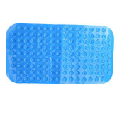 Poly Vinyl Chloride Non-slip Bath Mat Rugs with Suckers (Blue)