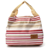 Oem Women Kids Canvas Stripe Lunch Bags Portable Insulated Bolsa Bag Grey (Intl)