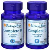 Puritan's Pride Complete B Vitamin B Complex 100 caplets Set of 2 Bottles
