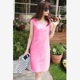 Gestore GESTORE New Fashion Stylish Lady Women's Sleeveless O-neck Party Career Dress M-XL (Rose Red)